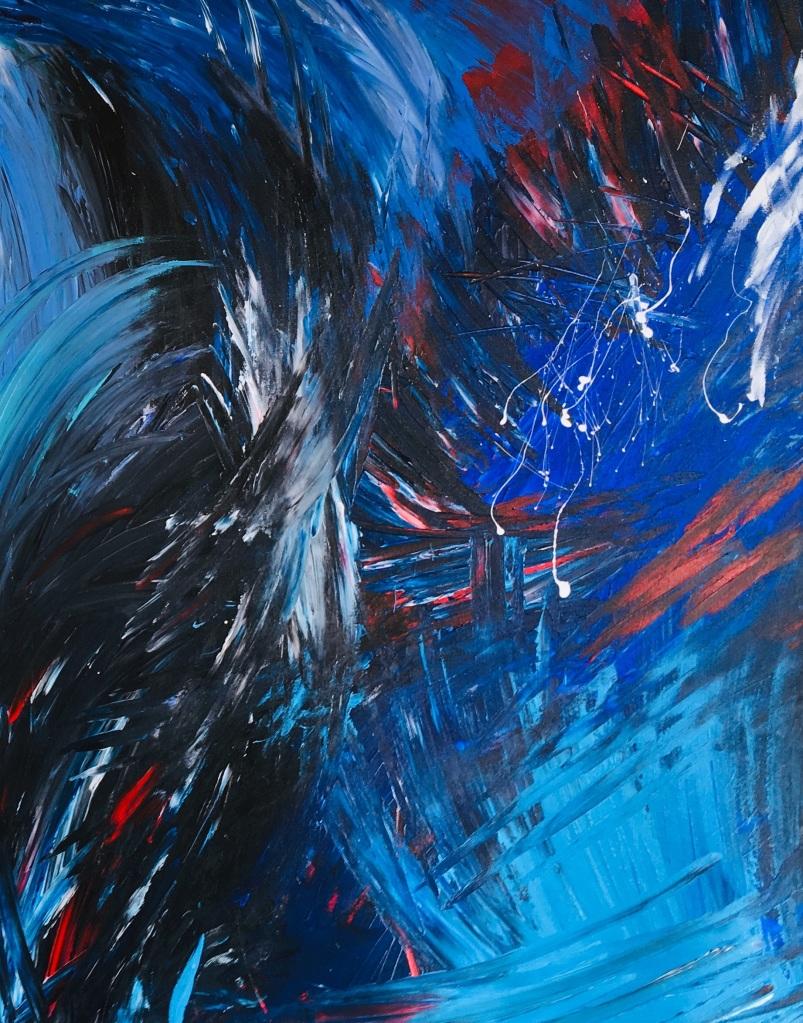 Improvisation 86 (detail, 2019, acrylic on canvas, 120x90 cm, Lino Luis Garcia Espinosa)