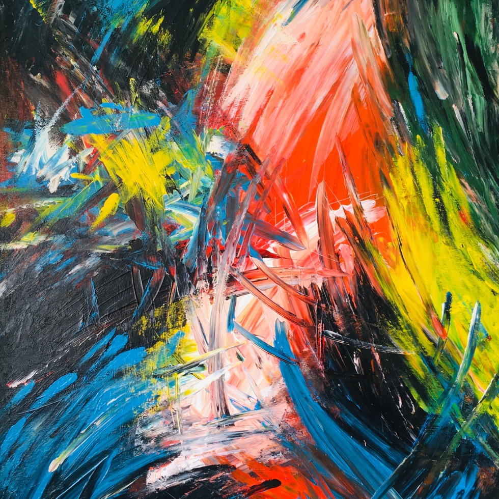 Improvisation 104 (2019, acrylic on canvas, 80x60 cm, Lino Luis Garcia Espinosa)