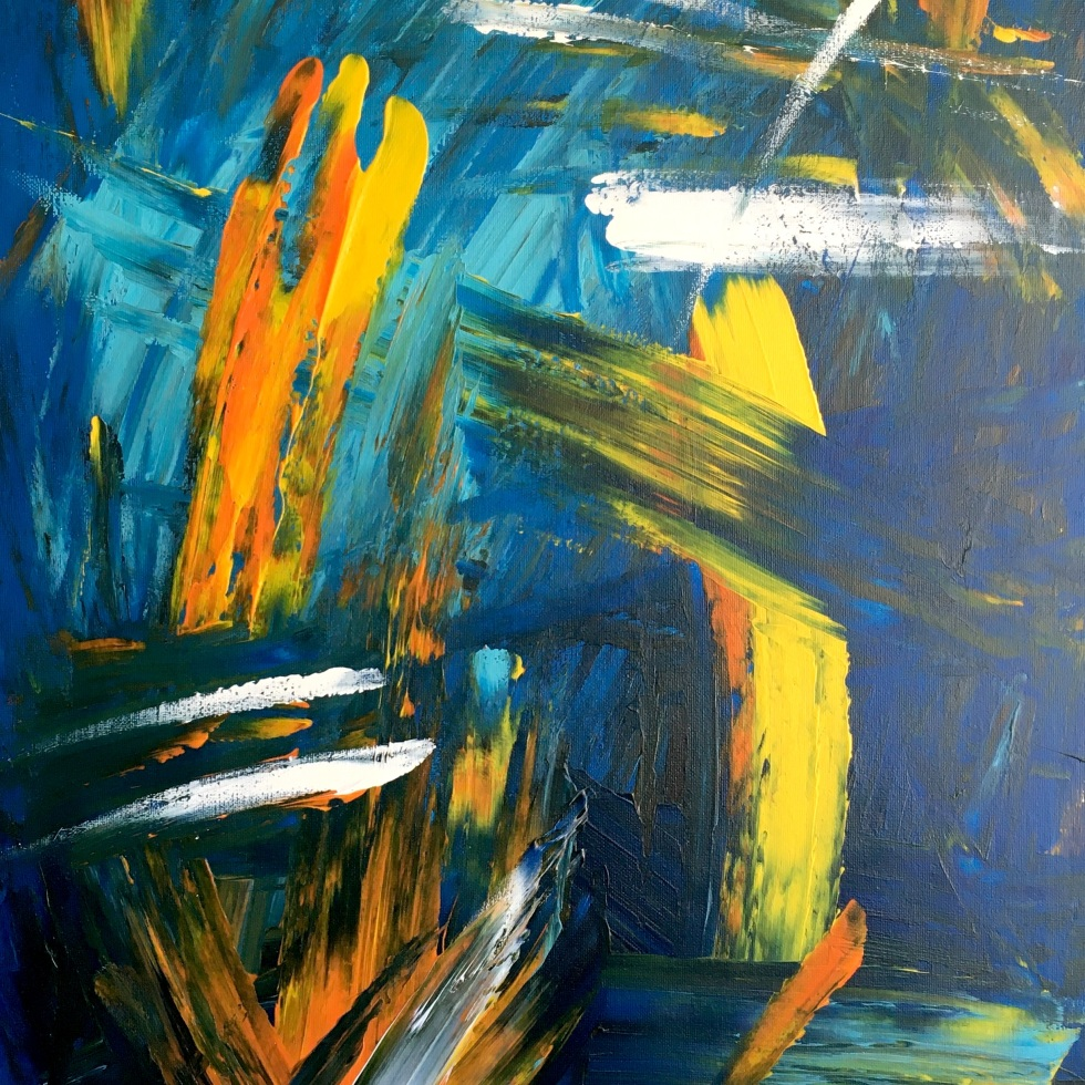 Improvisation 166 (2019, acrylic on canvas, 80×60 cm, Lino Luis Garcia Espinosa)